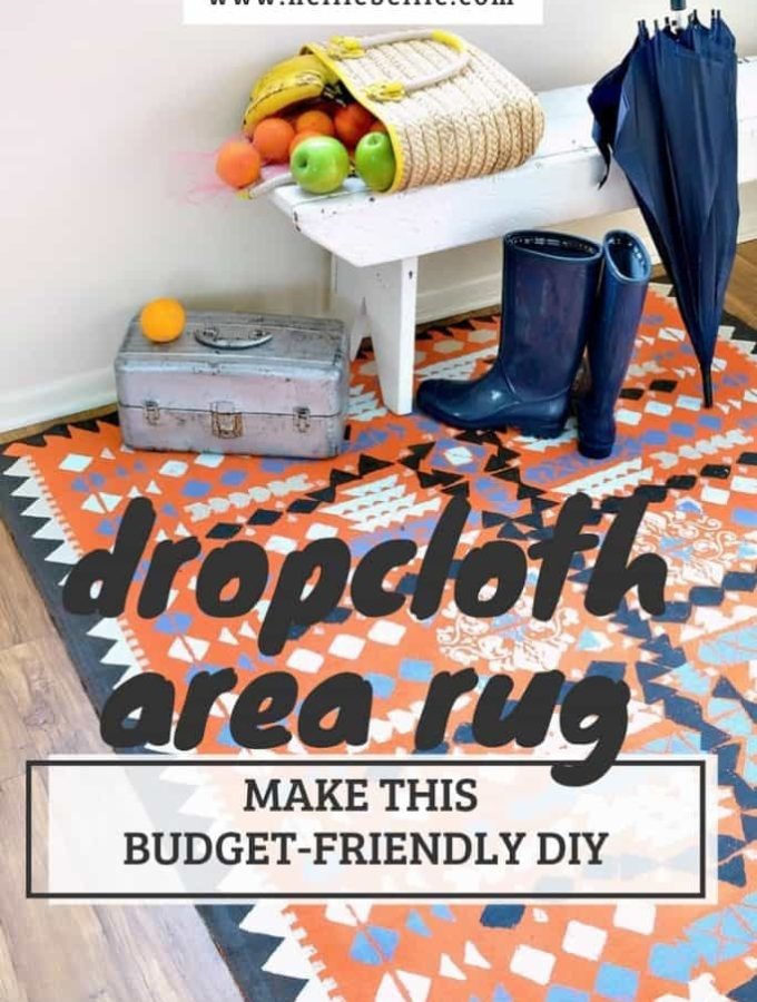 Create an area rug out of a dropcloth. Easy to follow tutorial to make this budget-friendly DIY.