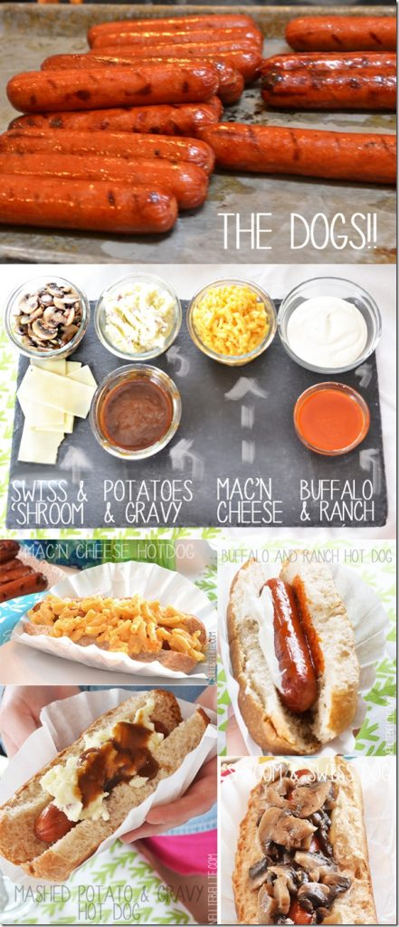 host a hotdog tasting party with interesting topping choices!