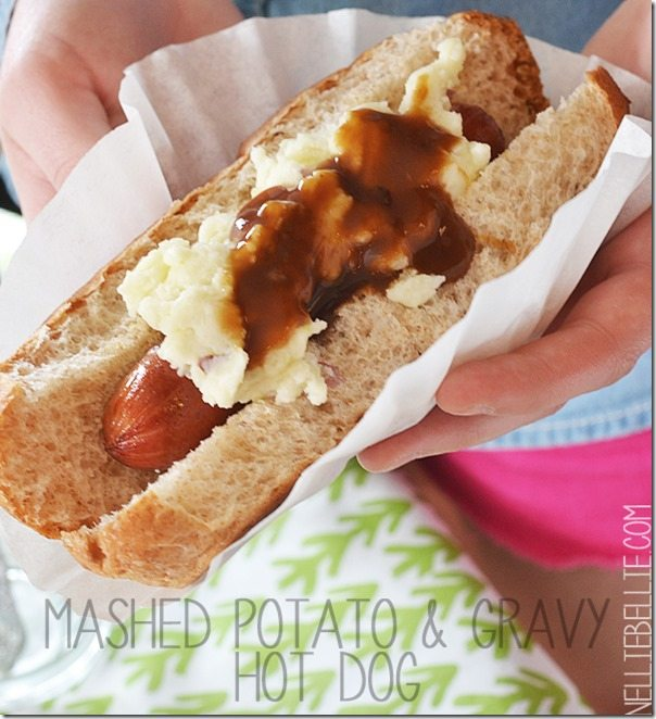 Mashed Potatoes and Gravy hotdog
