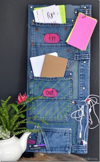 Organizer from recycled jeans