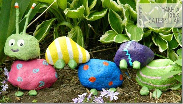 Children love to make this rock caterpillar for their outdoor garden!