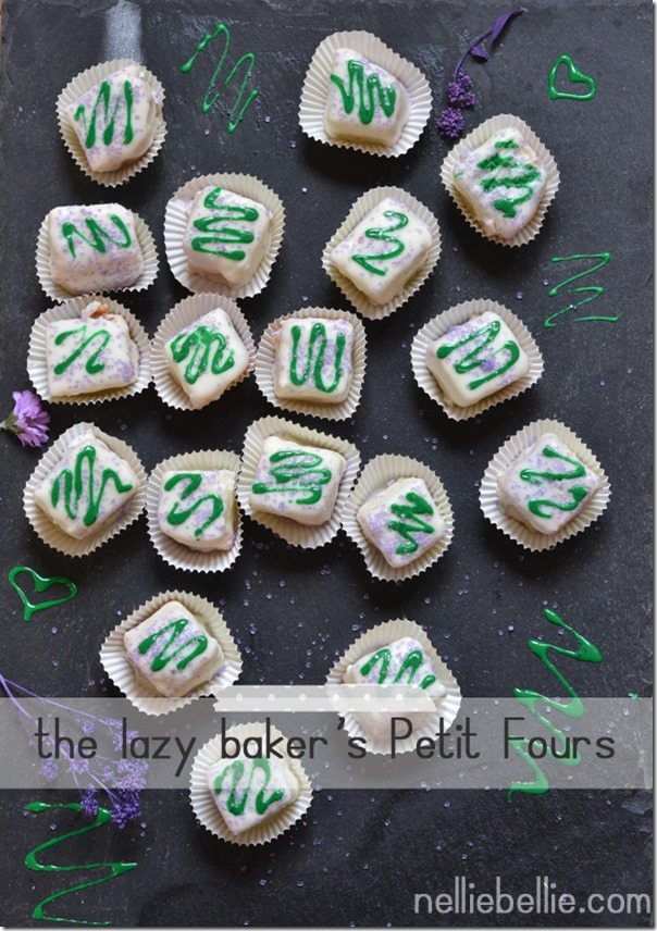 The lazy baker's Petit Fours. These are ridiculously easy to make and so cute!