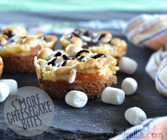 S'more Cheesecake Bites. Just prepared cookie dough, cheesecake filling, hot fudge, and marshmallows!