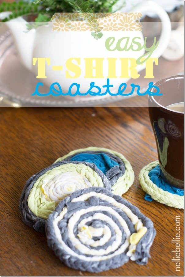 make t-shirt coasters. Easy to make and a great recycled project!