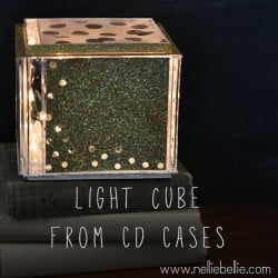 DIY light cube...from cd cases and Christmas lights!