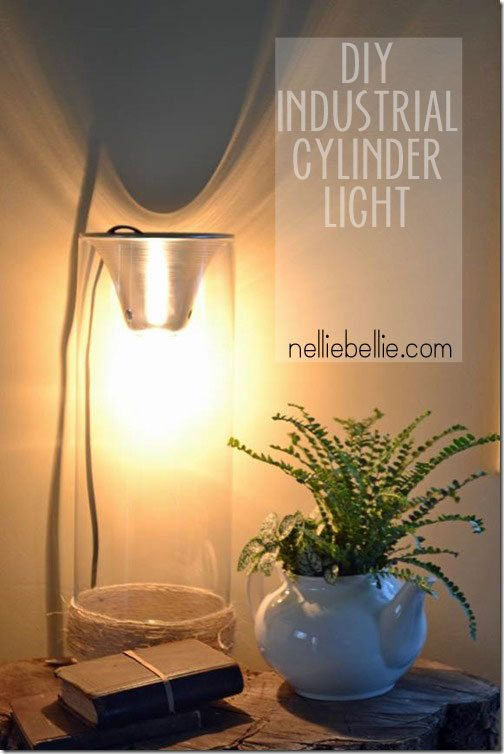 DIY an industrial light from a shop light and glass cylinder!