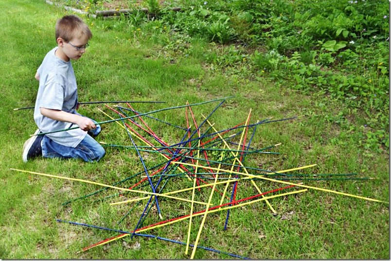 giant pick up sticks made from bamboo plant stakes