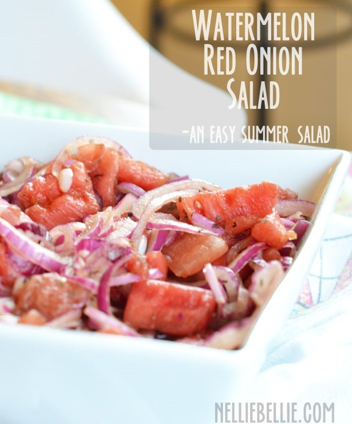 Watermelon red onion salad from nelliebellie.com