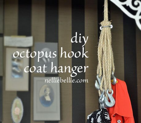 make your own octopus hook coat hanger. It's easy and inexpensive!