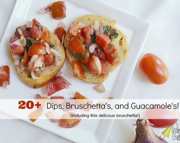 Dip recipes, along with bruschettas and guacs