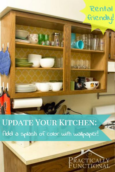 How to update your rental kitchen cabinets with wallpaper