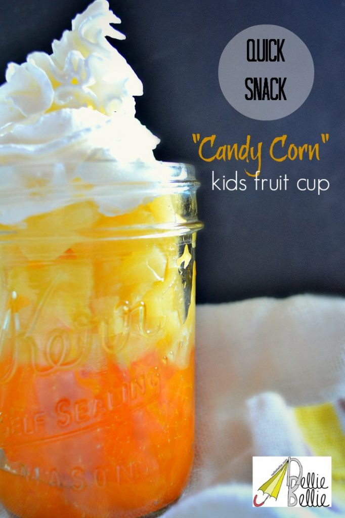 Delicious kid's fruit cup that looks like candy corn!