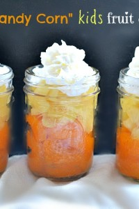 Candy Corn fruit cups; a recipe from NellieBellie #halloween #afterschoolsnack #healthy #fruit