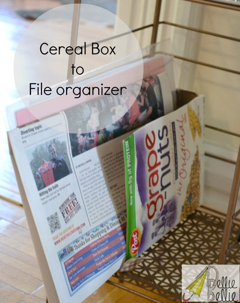 Repurpose a cereal box into a file organizer!