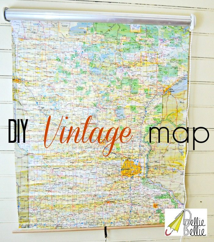 How to make a vintage roll-up map (from a shade)