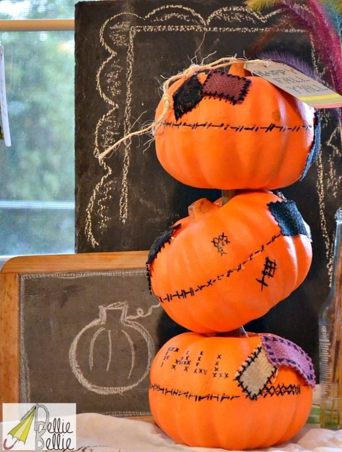 how to make a pumpkin topiary with Dollar Tree pumpkins