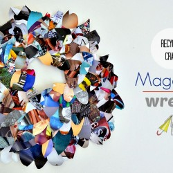 This easy magazine wreath uses recycled magazines to make something fantastic.