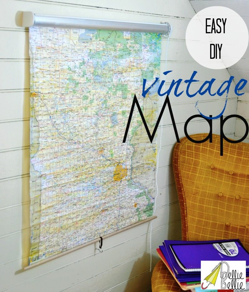 how to make a vintage roll-up map...from a shade! Awesome!