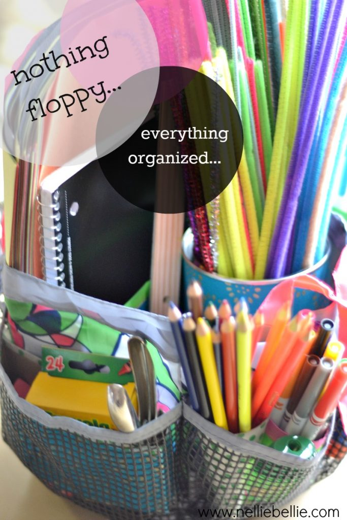 Use a shower caddy and recycling for organzing art supplies! From NellieBellie