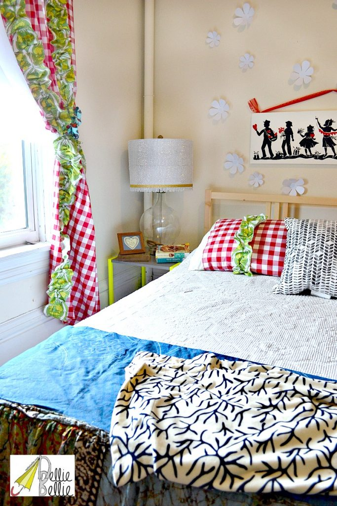 colorful, eclectic rental bedroom