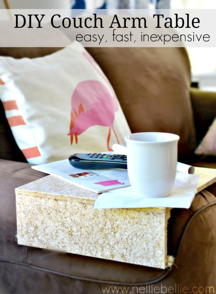 DIY couch arm tray table from nelliebellie.com. This is an incredibly simple DIY that will save you the space a bulky coffee table can take up.