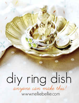 A diy ring dish that is so easy to make with a thrift store dish and knick-knack. And a ton of different types of knick knacks and dishes would work, so it can be replicated in a ton of variations. This would make a great gift!