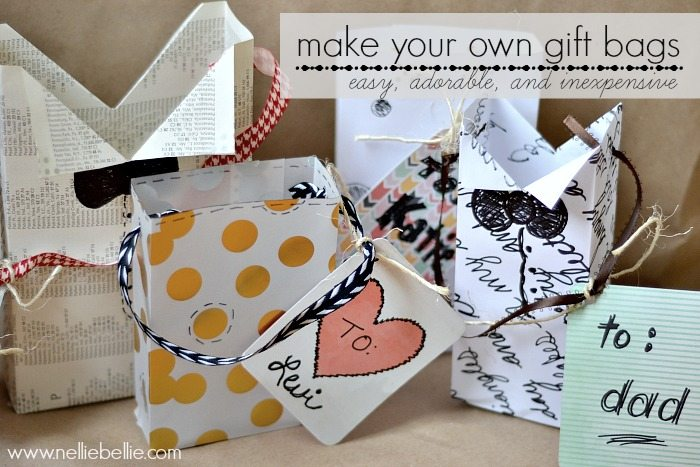 how to make a gift bag. a video tutorial from NellieBellie. So easy and what a great idea!