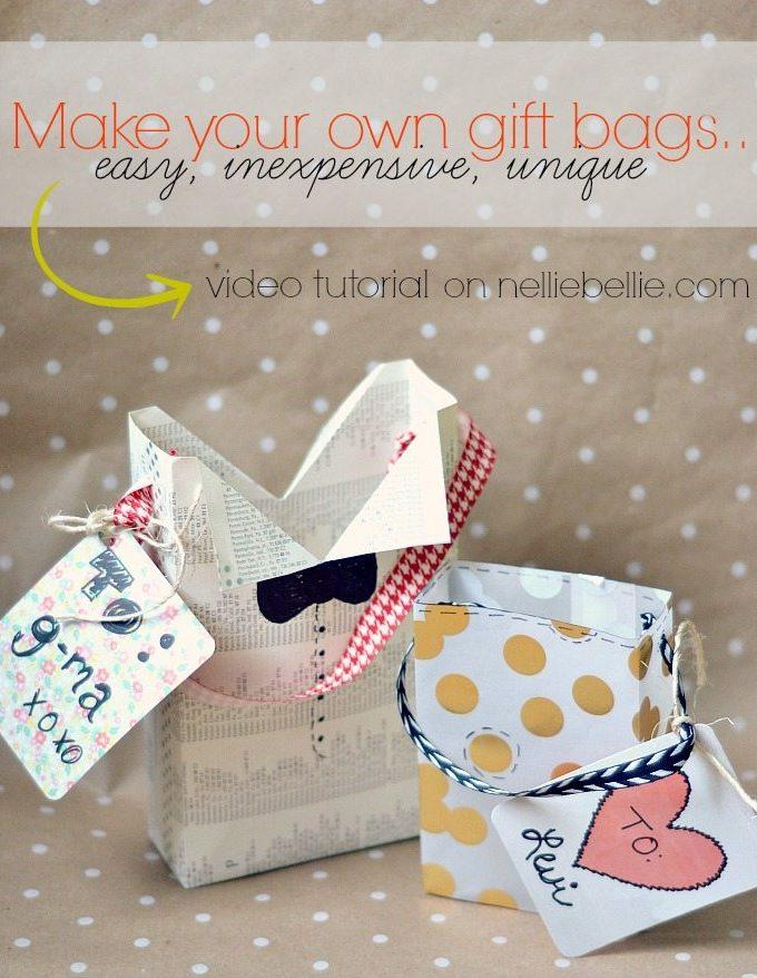 How to make a gift bag   gift bag tutorial   NellieBellie #giftbag #diy #craft