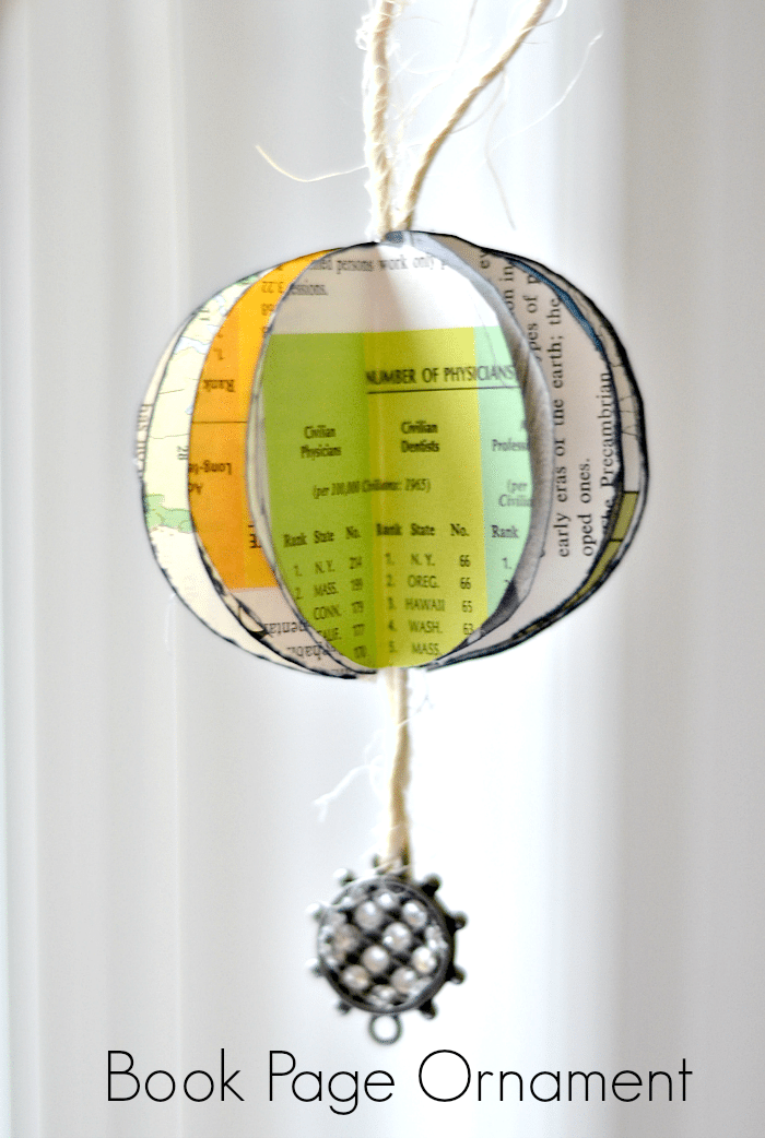 Book page ornament. Easy to make! //NellieBellie