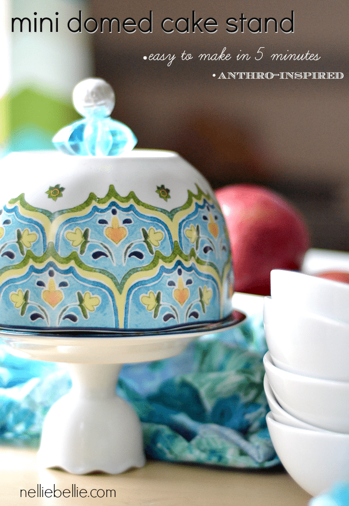 This DIY domed cake stand is an Anthro knock-off that is easy to replicate. We found items that already had great designs, so it was just a matter of putting everything together well! Perfect gift idea! make cake stand
