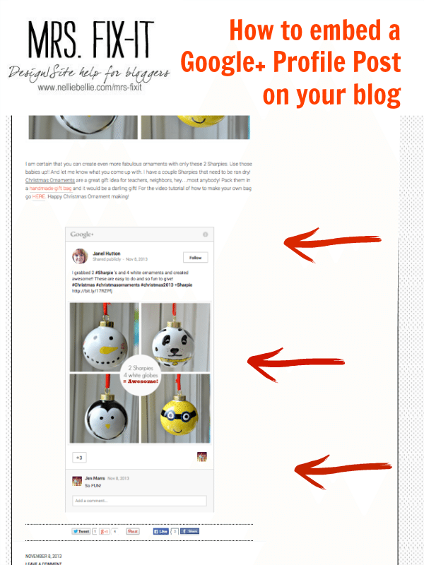 Tutorial from Mrs. Fix-it on how to embed your Google+ profile update on your blog.