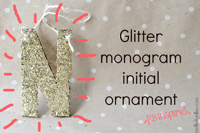 glitter monogram ornament. a Pottery Barn knock-off. easy to make with cardboard and glitter!