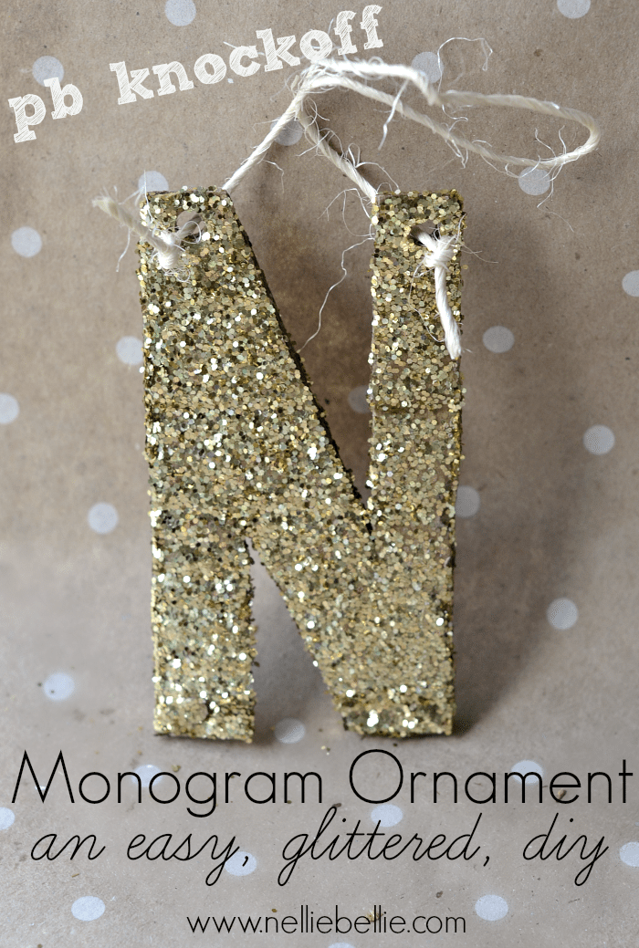 glittermonogram ornament. a pottery barn knock-off. easy to make with cardboard, glue, and glitter!