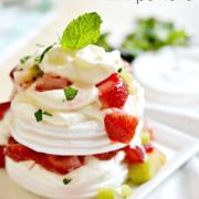 lazy baker's mini pavlova's. Easy to make with ready-made meringue cookies.