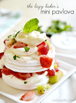 lazy baker's mini pavlova's. Easy to make with ready-made meringue cookies.
