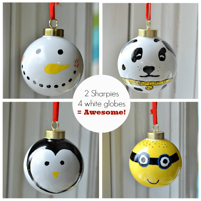 Sharpie Christmas Ornaments. 2 Sharpies & 4 white ornaments are all you need to create these!