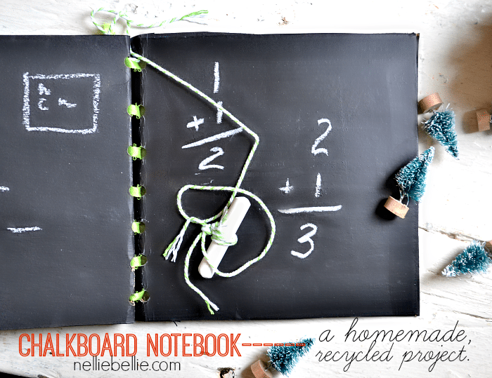 Make a chalkboard notebook! An easy, recycled project great for kids! from NellieBellie