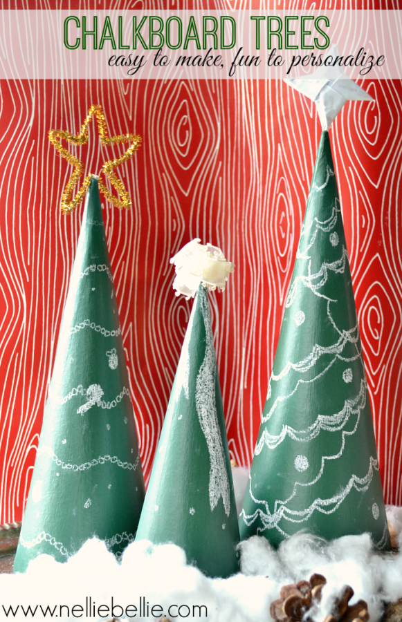 "Make quick and easy Chalkboard trees with cardboard cones and chalkboard paint. Let the kids ""decorate"" and ""redecorate"" to their hearts content!"