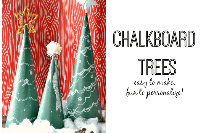 These simple chalkboard trees are great holiday decorations to make with your kids!