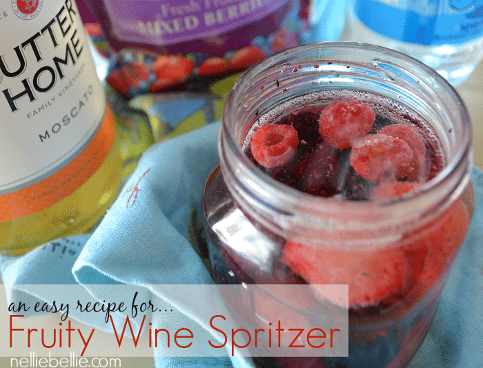 Super simple way to make a fruity wine spritzer and feel fancy, from nelliebellie.com