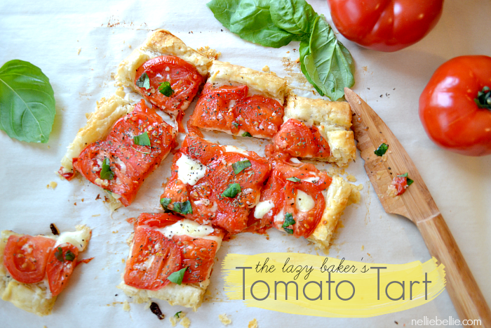 A tomato tart is a beautiful and easy appetizer. A quick & easy party dish!