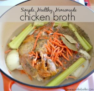 Simple, healthy Homemade chicken broth