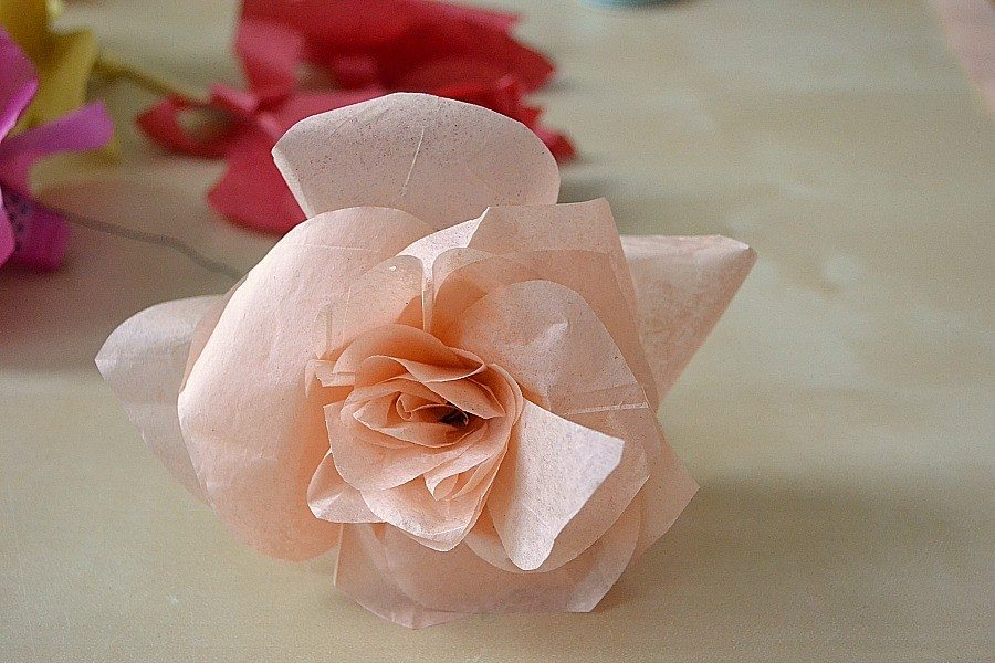 Simple steps to tissue paper flowers