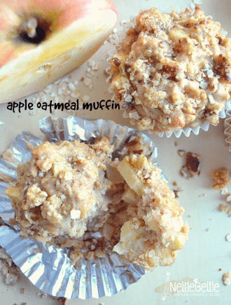 Apple oatmeal muffins from nelliebellie.com