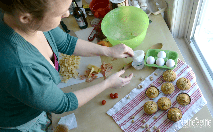 The process of making apple oatmeal muffins, among others. from nelliebellie.com
