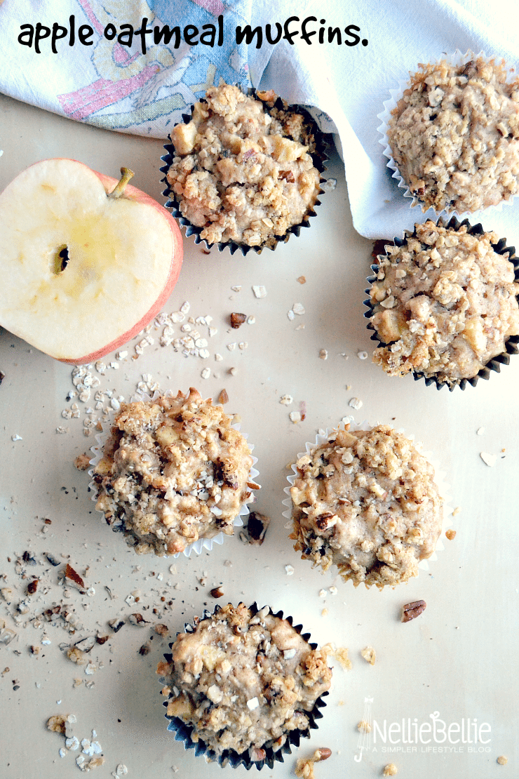 These delicious apple oatmeal muffins use fairly simple ingredients. from nelliebellie.com