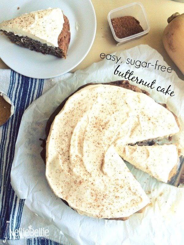 Naturally sweetened (no refined sugar) butternut cake from NellieBellie, a recipe. #cake #sugarfree #butternut