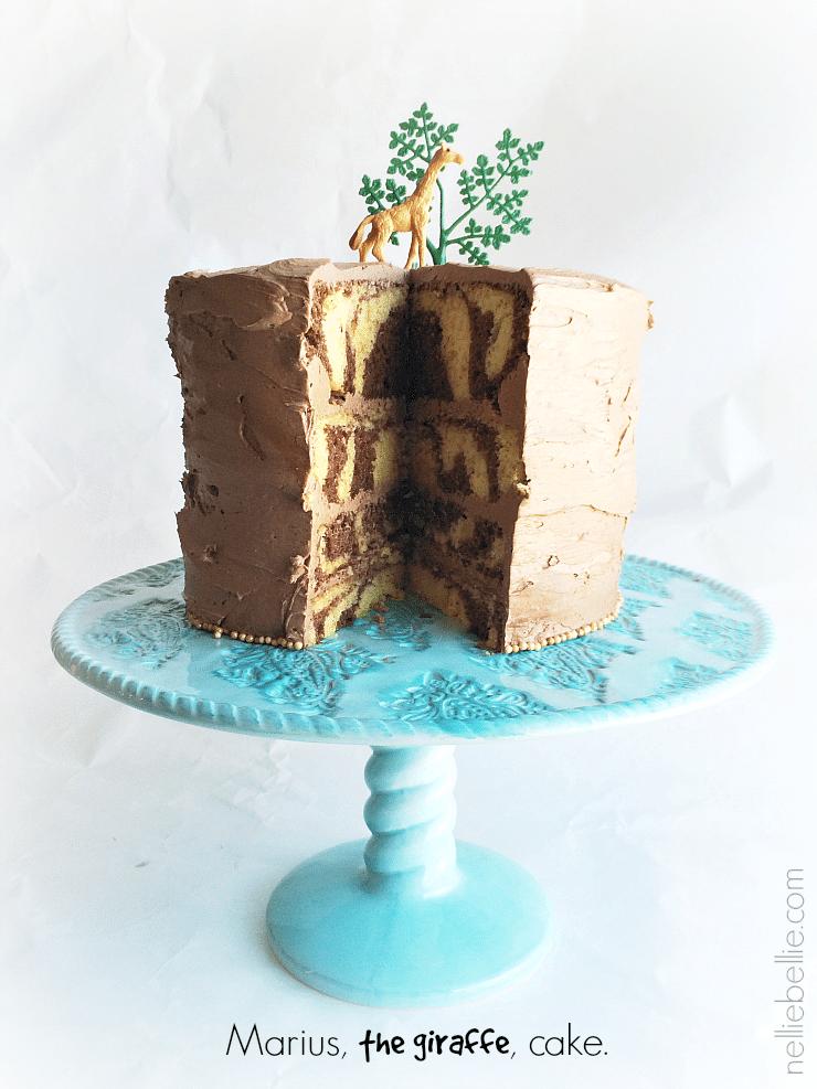 This giraffe cake was made in honor of Marius, the giraffe killed by the Copenhagen Zoo.