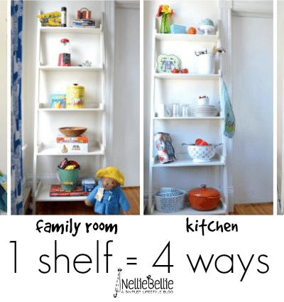 Styling a shelf multiple ways.