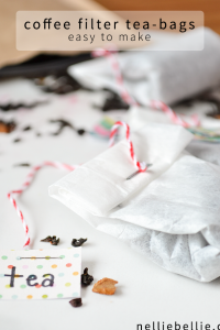 Make your own tea bags from coffee filters. Perfect for when you want to use loose-leaf. Or for gifting. #teabags #diy #gifts #tutorials